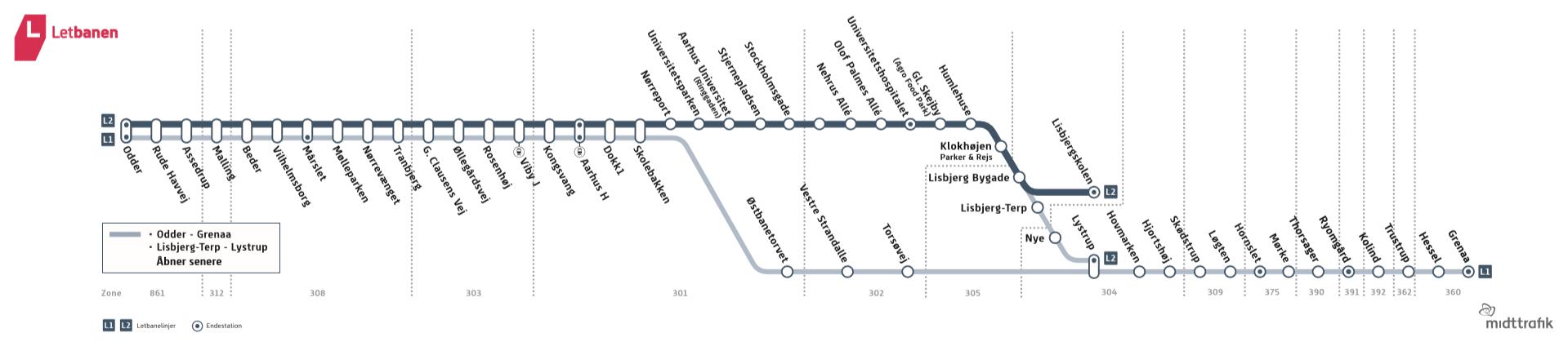 Letbanens linjekarta fr.o.m 2018-08-25 Bild: midttrafik